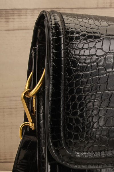 Victoria Black Vegan Textured Crossbody Handbag | La petite garçonne side close-up