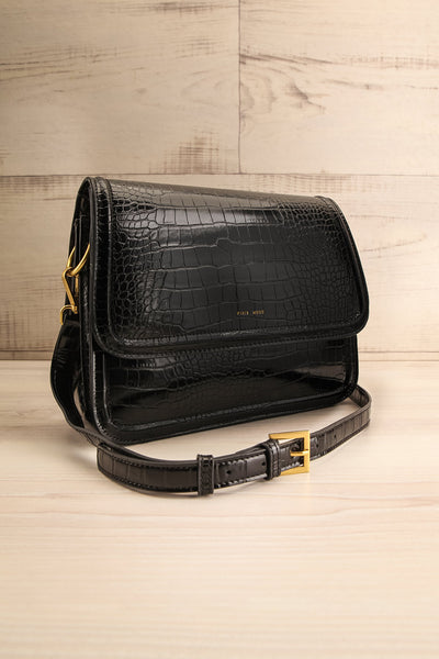 Victoria Black Vegan Textured Crossbody Handbag | La petite garçonne side view