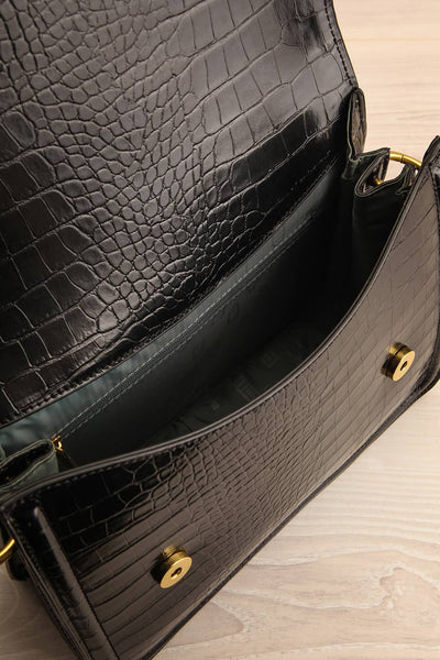 Victoria Black Vegan Textured Crossbody Handbag | La petite garçonne inside view