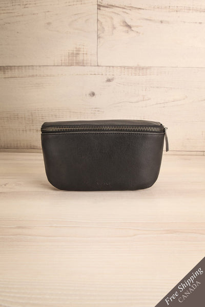 Viely Black Vegan Leather Fanny Pack | La Petite Garçonne front view