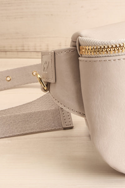 Viely Grey Vegan Leather Fanny Pack | La petite garçonne side close-up