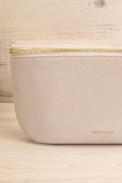 Viely Grey Vegan Leather Fanny Pack | La petite garçonne front close-up