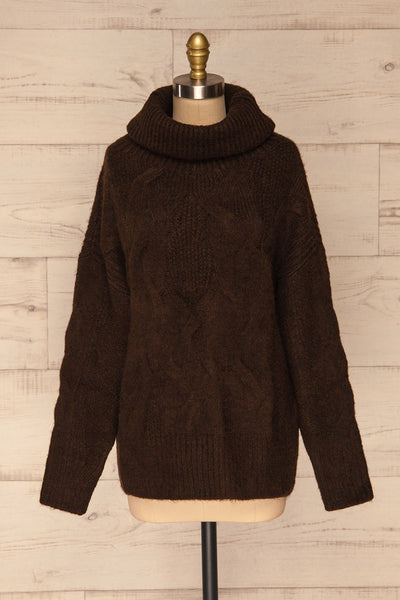 Vigo Brown Turtleneck Knit Sweater | La petite garçonne front view