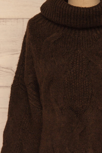 Vigo Brown Turtleneck Knit Sweater | La petite garçonne front close-up