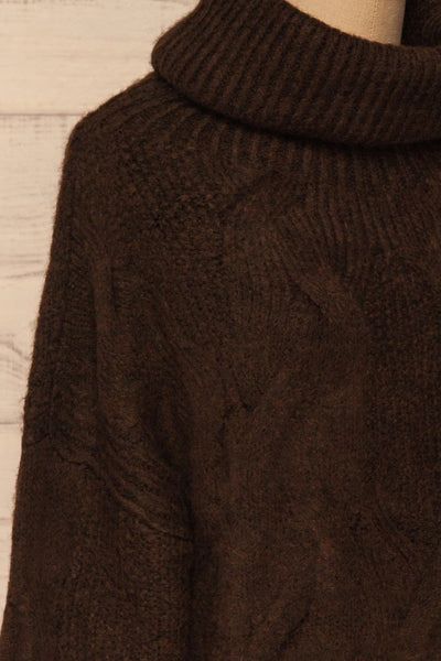 Vigo Brown Turtleneck Knit Sweater | La petite garçonne side close-up