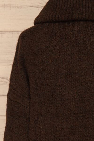 Vigo Brown Turtleneck Knit Sweater | La petite garçonne back close-up