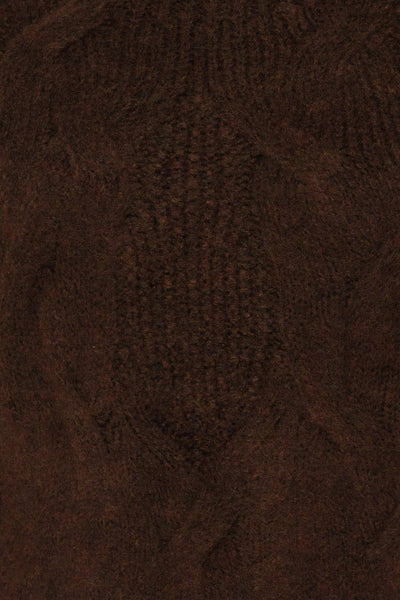 Vigo Brown Turtleneck Knit Sweater | La petite garçonne fabric
