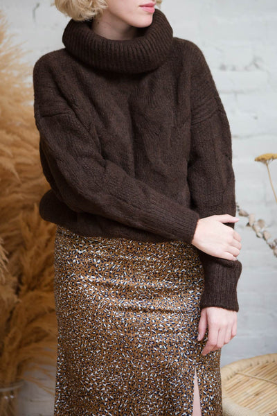 Vigo Brown Turtleneck Knit Sweater | La petite garçonne model