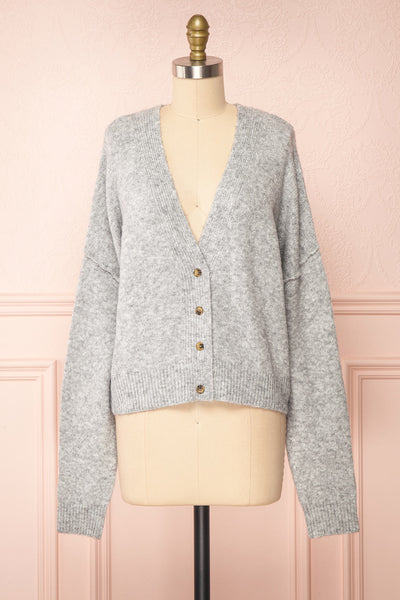 Vikep Grey Knitted Button-Up Cardigan | Boutique 1861 front view