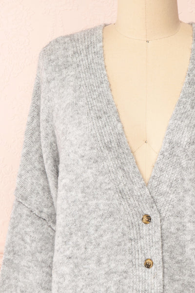 Vikep Grey Knitted Button-Up Cardigan | Boutique 1861 front close-up