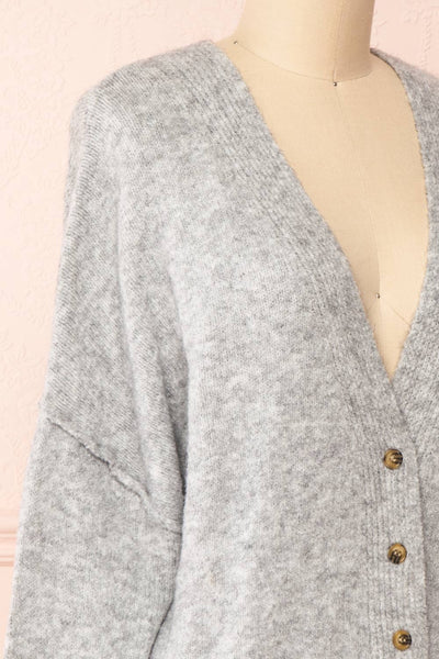 Vikep Grey Knitted Button-Up Cardigan | Boutique 1861 side close-up