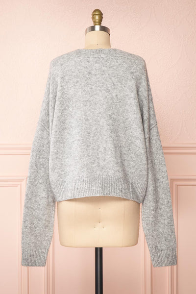 Vikep Grey Knitted Button-Up Cardigan | Boutique 1861 back view