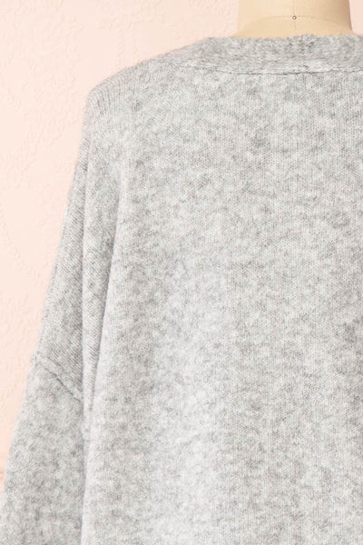 Vikep Grey Knitted Button-Up Cardigan | Boutique 1861 back close-up