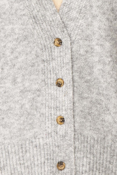 Vikep Grey Knitted Button-Up Cardigan | Boutique 1861 fabric