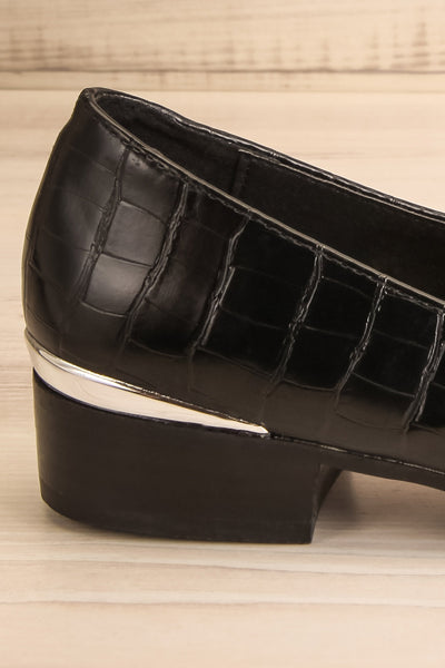 Villehardouin Black Textured Loafers | La petite garçonne  side back close-up