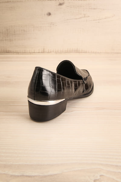 Villehardouin Black Textured Loafers | La petite garçonne  back view