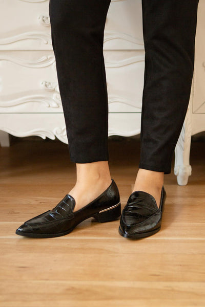 Villehardouin Black Textured Loafers | La petite garçonne close-up