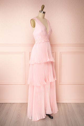 Viridiana Light Pink Pleated Maxi Prom Dress | Boutique 1861 side view