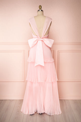 Viridiana Light Pink Pleated Maxi Prom Dress | Boutique 1861 back view
