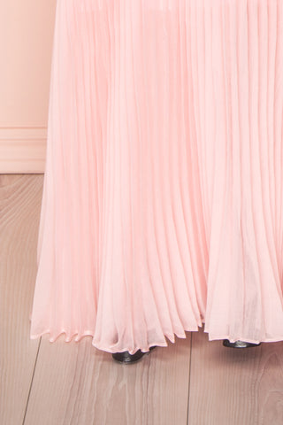 Viridiana Light Pink Pleated Maxi Prom Dress | Boutique 1861 bottom close-up