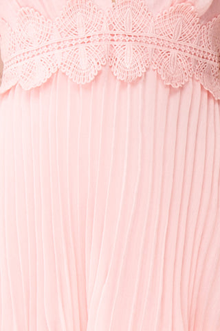 Viridiana Light Pink Pleated Maxi Prom Dress | Boutique 1861 fabric details