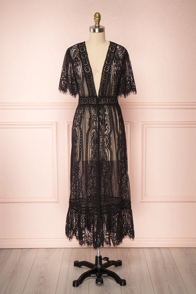 Virrey Black Lace Long Kimono | Boutique 1861