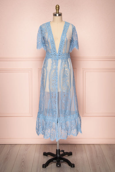 Virrey Blue Lace Long Kimono | Boutique 1861 Front view