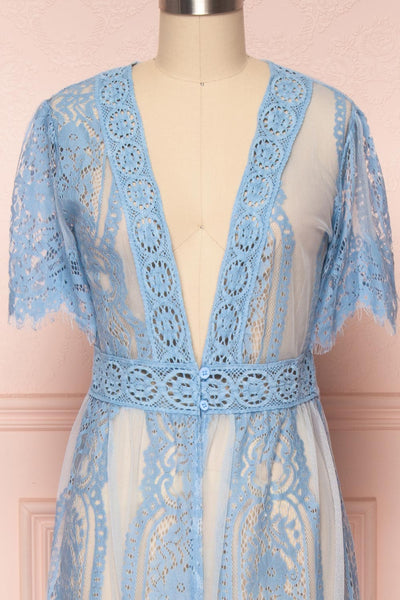 Virrey Blue Lace Long Kimono | Boutique 1861 front close-up