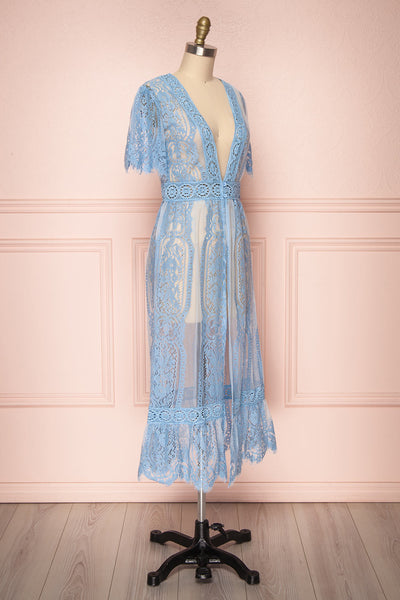 Virrey Blue Lace Long Kimono | Boutique 1861 side view