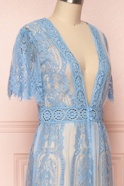 Virrey Blue Lace Long Kimono | Boutique 1861 side close-up