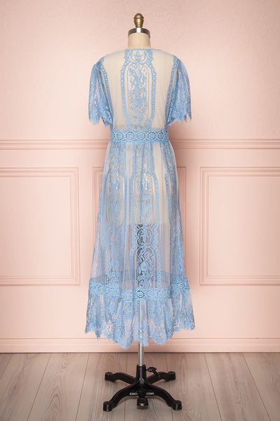 Virrey Blue Lace Long Kimono | Boutique 1861 back view