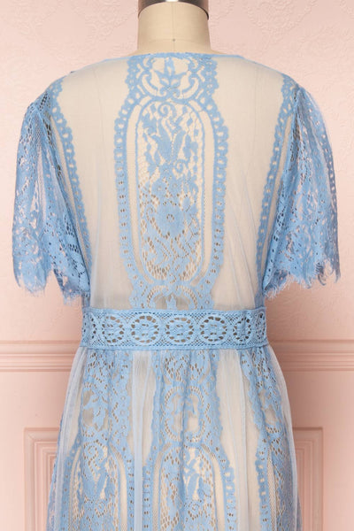 Virrey Blue Lace Long Kimono | Boutique 1861 back close-up
