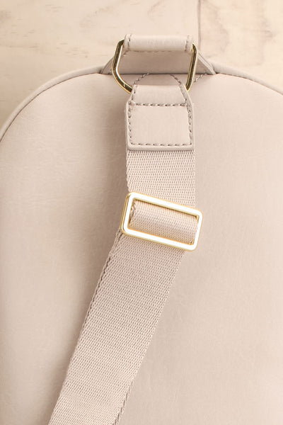 Voasa Grey Vegan Leather Backpack | La petite garçonne back close-up