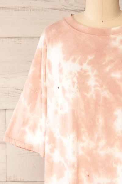 Vonna Pink Tie-Dye Oversized T-Shirt | La petite garçonne front close-up