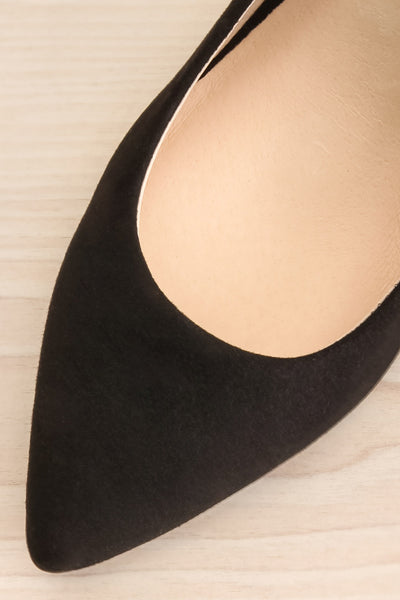 Vouvray Black Suede Pointed Toe Heels | La petite garçonne flat close-up