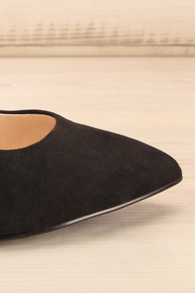 Vouvray Black Suede Pointed Toe Heels | La petite garçonne side front close-up