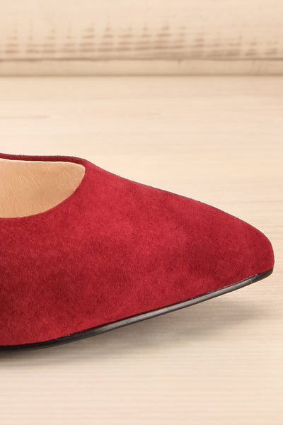 Vouvray Burgundy Suede Pointed Toe Heels | La petite garçonne side close-up