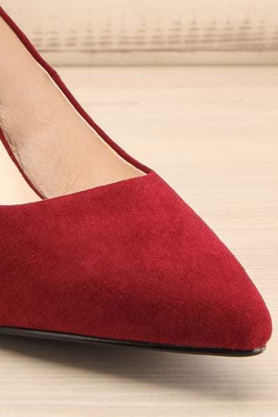 Vouvray Burgundy Suede Pointed Toe Heels | La petite garçonne front close-up