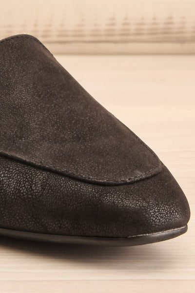 Wadigi Black Faux Suede Loafers | La petite garçonne front close-up