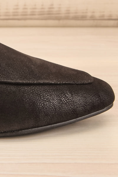 Wadigi Black Faux Suede Loafers | La petite garçonne side close-up