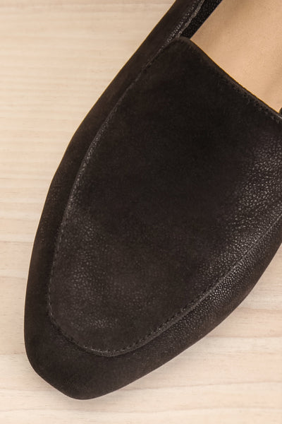 Wadigi Black Faux Suede Loafers | La petite garçonne flat close-up