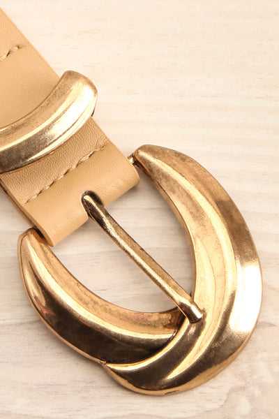 Waipio Beige Faux-Leather Belt | La petite garçonne flat close-up