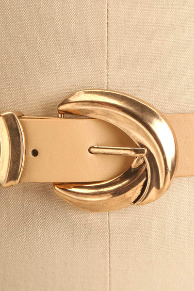 Waipio Beige Faux-Leather Belt | La petite garçonne close-up