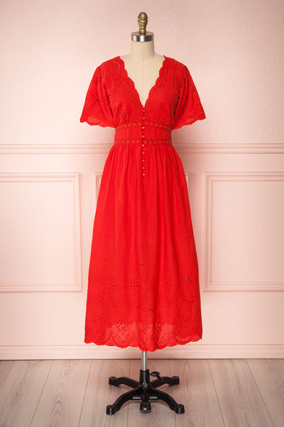 Werda Tomato Red Lace Details A-Line Midi Dress | Boutique 1861