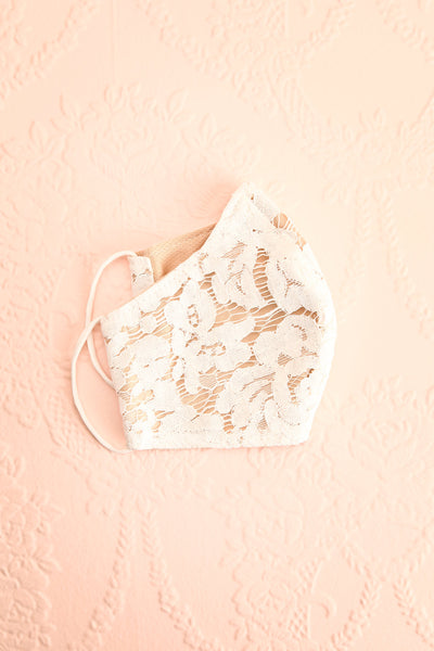 White Lacy Face Mask Floral | Boutique 1861 lining