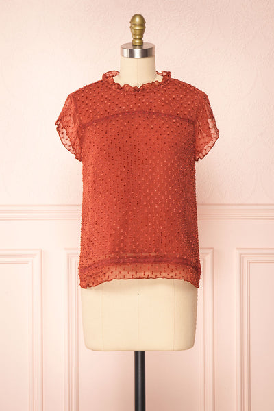 Wicce Rust Short Sleeve Plumetis Blouse | Boutique 1861 front view