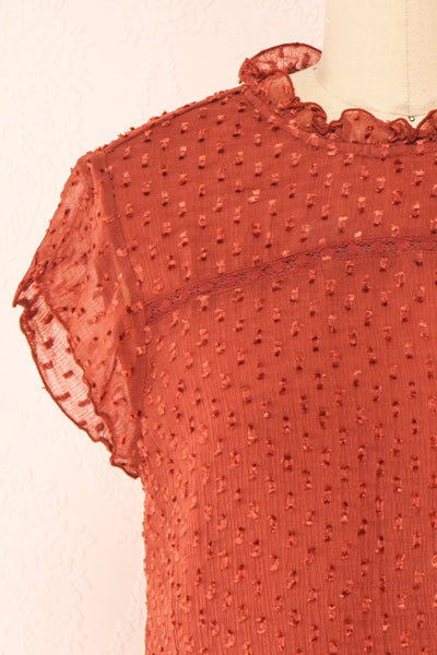 Wicce Rust Short Sleeve Plumetis Blouse | Boutique 1861 front close-up