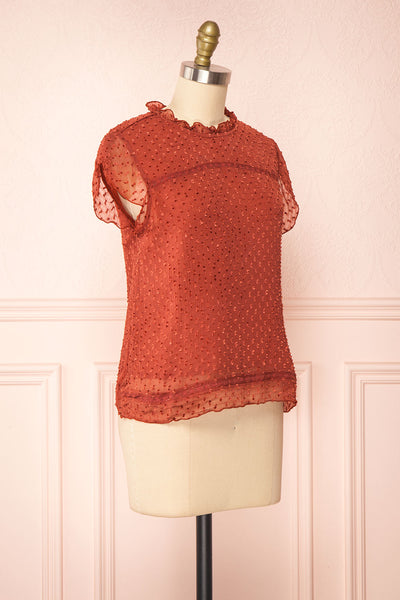 Wicce Rust Short Sleeve Plumetis Blouse | Boutique 1861 side view