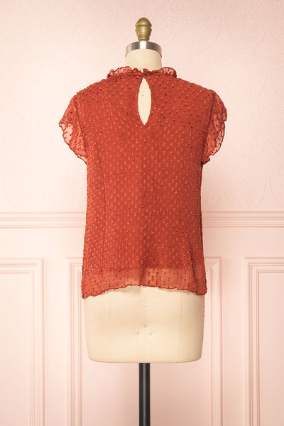 Wicce Rust Short Sleeve Plumetis Blouse | Boutique 1861 back view