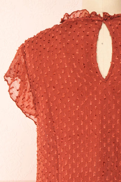 Wicce Rust Short Sleeve Plumetis Blouse | Boutique 1861 back close-up